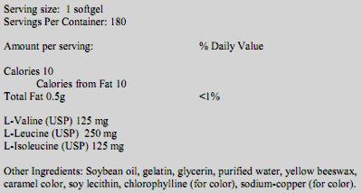 Состав BCAA Softgels от Ultimate Nutrition