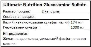 Состав Glucosamine Sulfate от Ultimate Nutrition