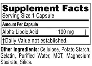 Состав Universal Nutrition Alpha Lipoic Acid
