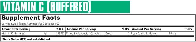 Состав Buffered Vitamin C от Universal