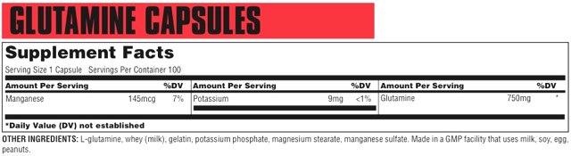 Состав Glutamine Capsules