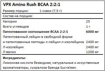 Состав Amino Rush BCAA 2-2-1 от VPX