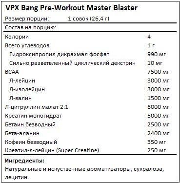 Состав Bang Pre-Workout Master Blaster от VPX