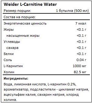 Состав L-Carnitine Water от Weider